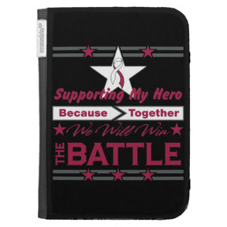 Head Neck Cancer Supporting My Hero Kindle Folio Cases