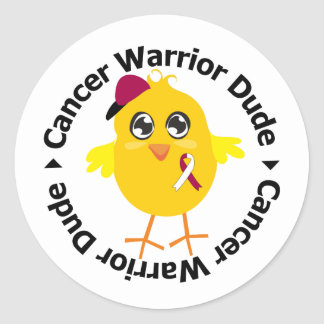 Head Neck Cancer Warrior Dude Round Sticker