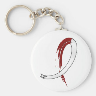 Head Neck Cancer's Burgungy and White Ribbon A4 Basic Round Button Key Ring