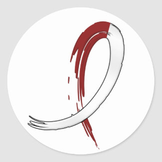 Head Neck Cancer's Burgungy and White Ribbon A4 Sticker