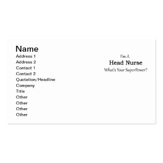 Head Nurse Pack Of Standard Business Cards