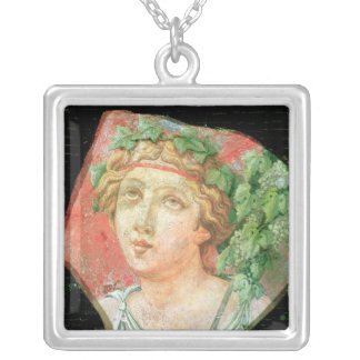 Head of a bacchante silver plated necklace