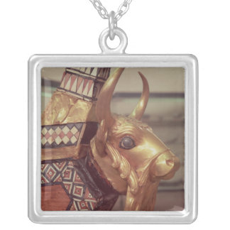 Head of a bull, decoration from a harp 2 silver plated necklace