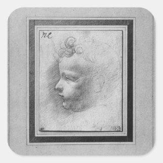 Head of a child square sticker