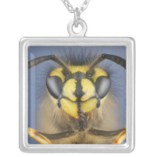 Head of a Common Wasp Silver Plated Necklace