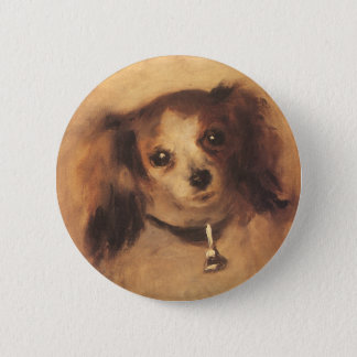 Head of a Dog by Pierre Renoir, Vintage Fine Art 6 Cm Round Badge