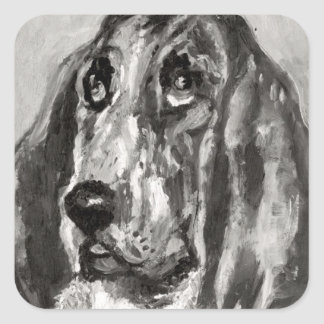 Head of a Dog Running, 1880 Square Sticker