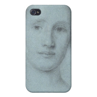 Head of a Girl (black and white chalk on blue laid iPhone 4/4S Covers