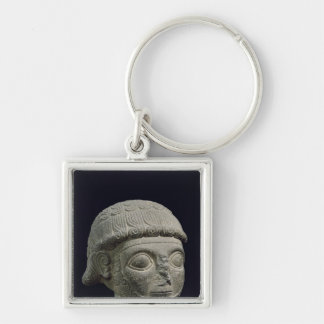 Head of a god, from Barak in Turkey Silver-Colored Square Key Ring