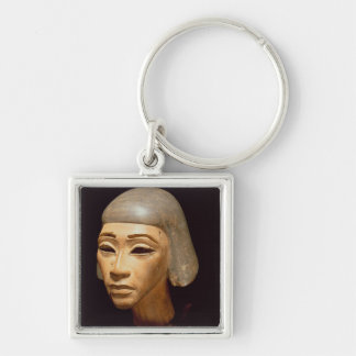 Head of a Harpist, from Tell El-Amarna, c.1370-136 Silver-Colored Square Key Ring