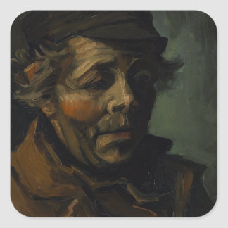 Head of a Peasant by Vincent Van Gogh Square Sticker