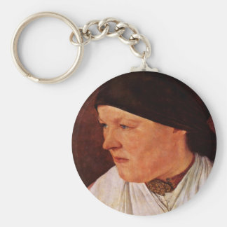 Head Of A Peasant Girl By Leibl Wilhelm Basic Round Button Key Ring