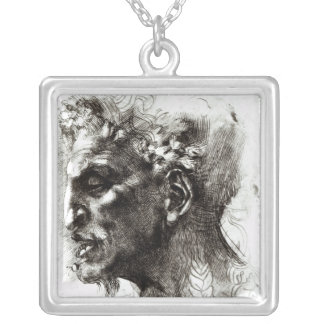 Head of a Satyr Silver Plated Necklace