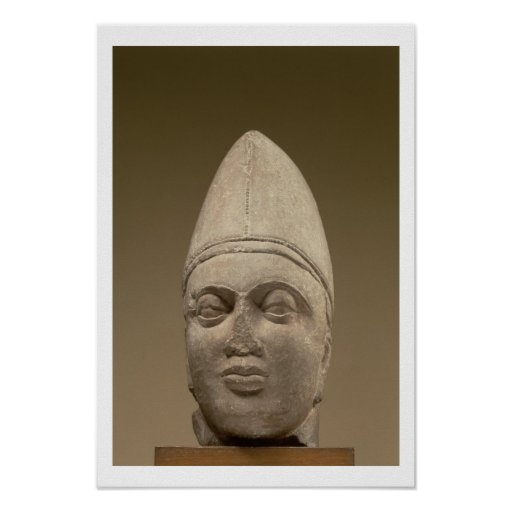Head of a Scythian, red sandstone, 3rd century AD Poster