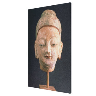 Head of a statue of Buddha, from Bezeklik Canvas Print