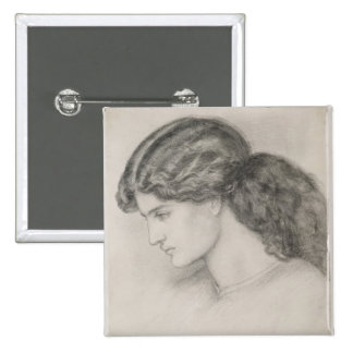 Head of a Woman, 1861 (pencil on paper) Pinback Button