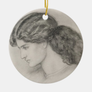 Head of a Woman, 1861 (pencil on paper) Round Ceramic Decoration