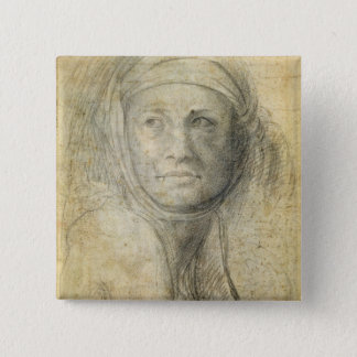 Head of a Woman (pencil on paper) 15 Cm Square Badge