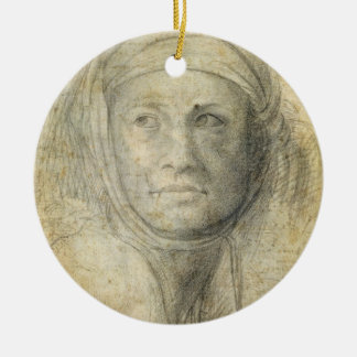 Head of a Woman (pencil on paper) Christmas Ornament