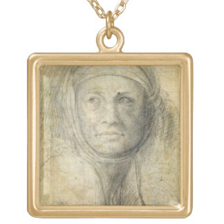 Head of a Woman (pencil on paper) Square Pendant Necklace