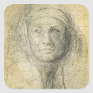 Head of a Woman (pencil on paper) Square Sticker