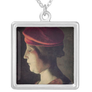 Head of a Woman Silver Plated Necklace