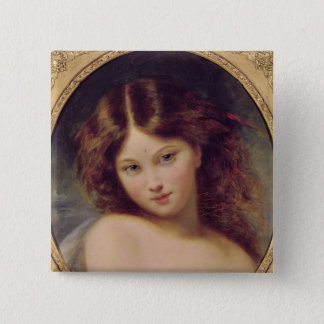 Head of a Young Girl 15 Cm Square Badge