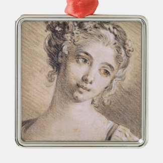 Head of a Young Girl Silver-Colored Square Decoration