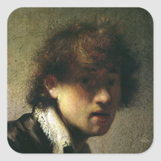 Head of a Young Man or Self Portrait, 1629 Square Sticker