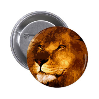 Head of African Lion 6 Cm Round Badge