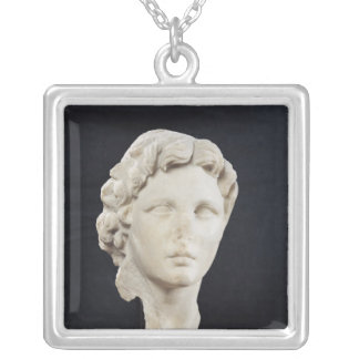 Head of Alexander the Great Square Pendant Necklace