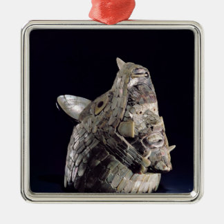 Head of an animal with human head in open jaws christmas ornament