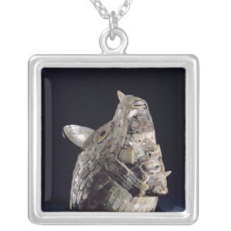 Head of an animal with human head in open jaws silver plated necklace