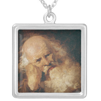 Head of an Old Man Silver Plated Necklace