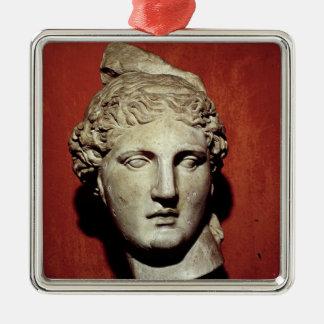 Head of Apollo from Ephesus Silver-Colored Square Decoration