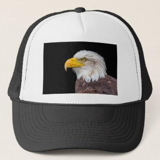 Head of bald eagle on black trucker hat