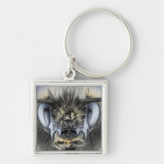 Head of bumblebee Silver-Colored square key ring