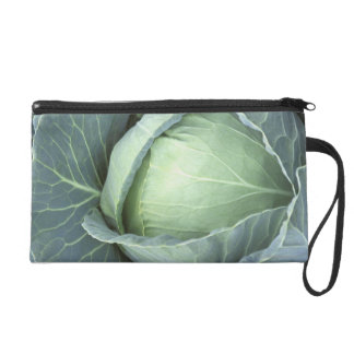 Head of cabbage with drops of water wristlet clutch