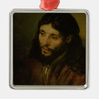 Head of Christ, c.1648 (oil on canvas) Silver-Colored Square Decoration