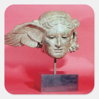 Head of Hypnos, copy of a Hellenistic original Square Sticker