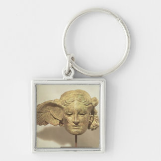 Head of Hypnos, or Sleep Silver-Colored Square Key Ring