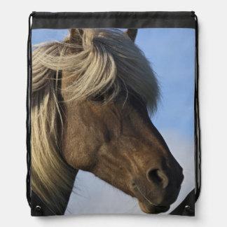 Head of Icelandic horse, Iceland Drawstring Bag