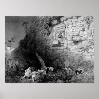 Head of Itzam Na, Izamal, Yucatan, Mexico, 1844 Poster