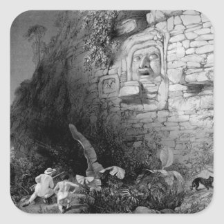 Head of Itzam Na, Izamal, Yucatan, Mexico, 1844 Square Sticker