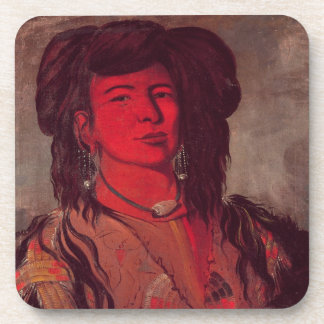 Head of Kate One Horn (oil on canvas) Drink Coasters