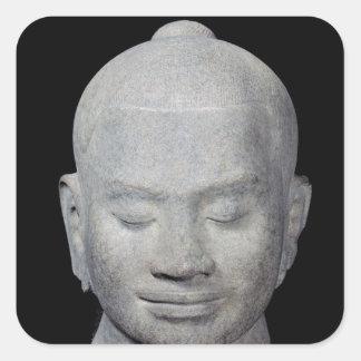 Head of King Jayavarman VII  Bayon Style Square Sticker