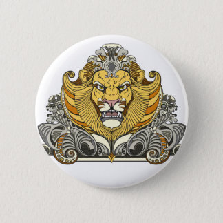head of lion 6 cm round badge
