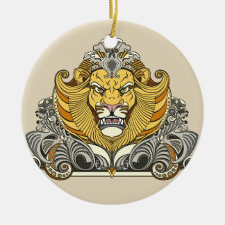 head of lion round ceramic decoration