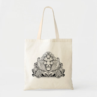 head of lion tote bag