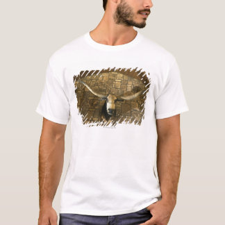 Head of longhorn steer mounted on wall T-Shirt